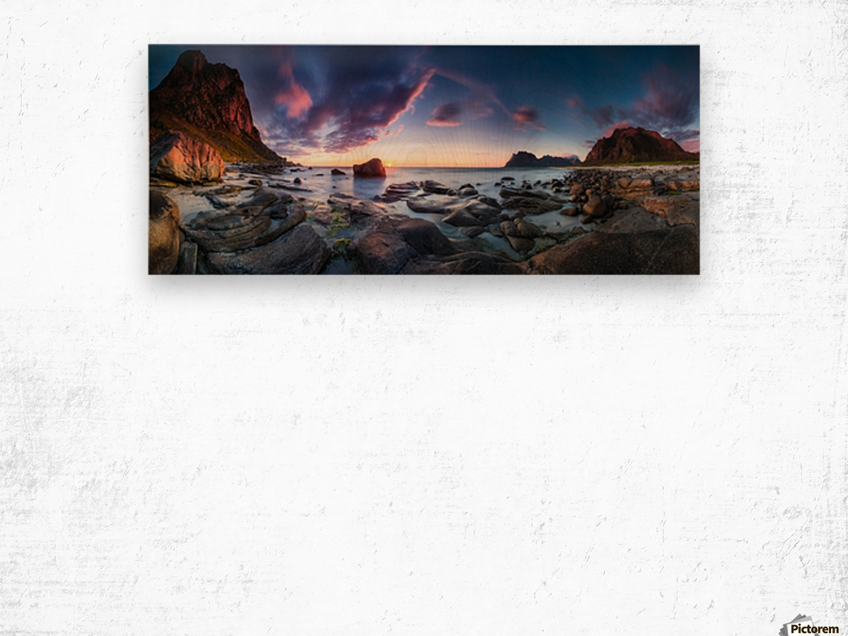 Utakleiv sunset Wood print