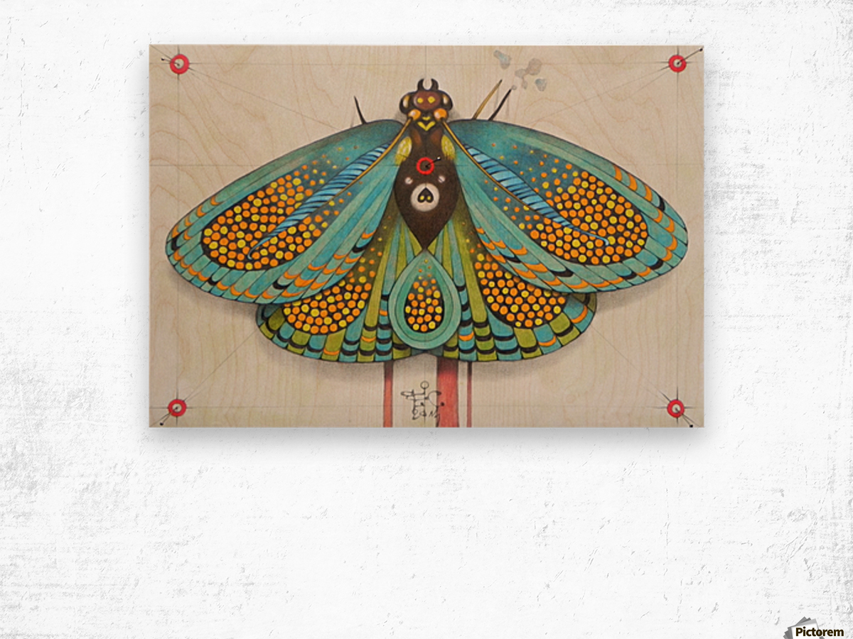 psychedelic butterfly Wood print