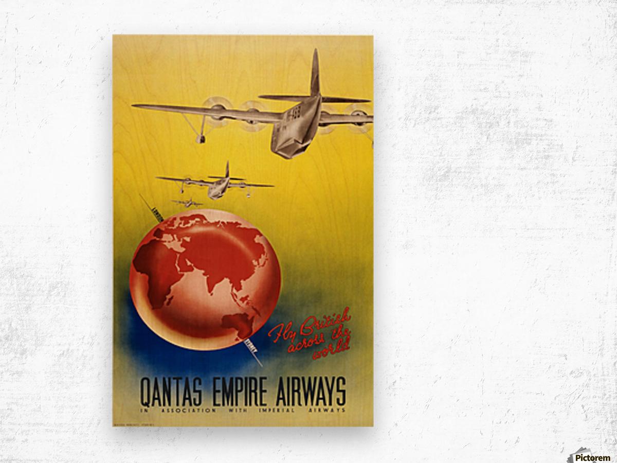 Qantas Empire Airways travel poster 1938 Wood print