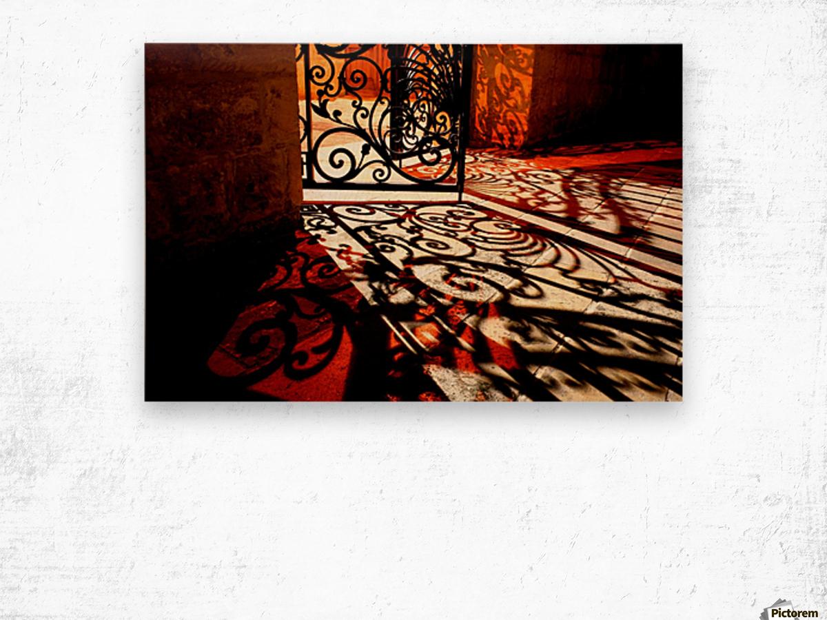 Courtyard shadows Wood print