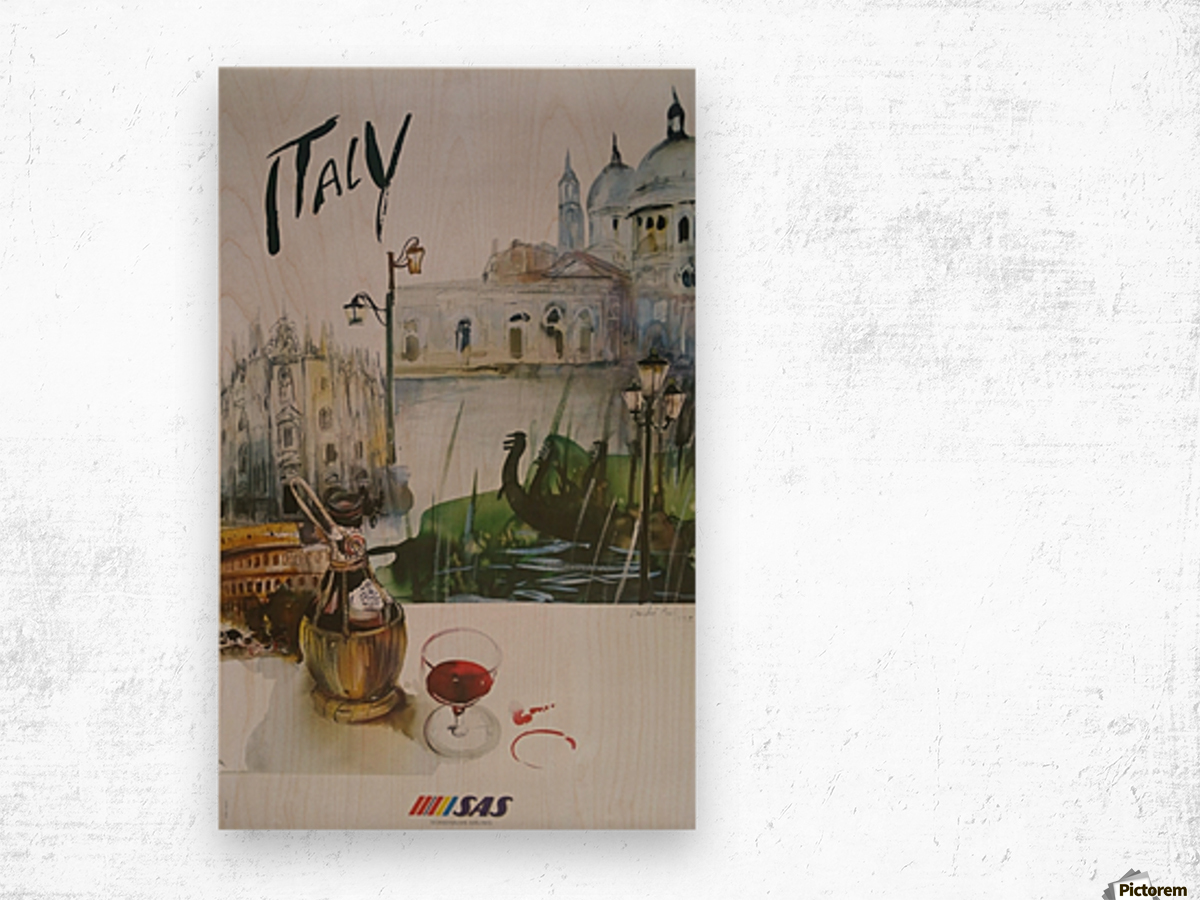 Italy Travel Poster by SAS Wood print
