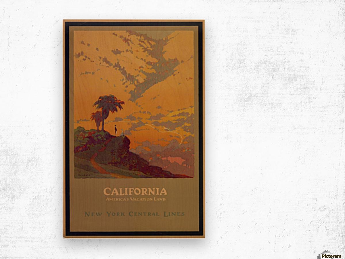 California American Vacation Land Wood print