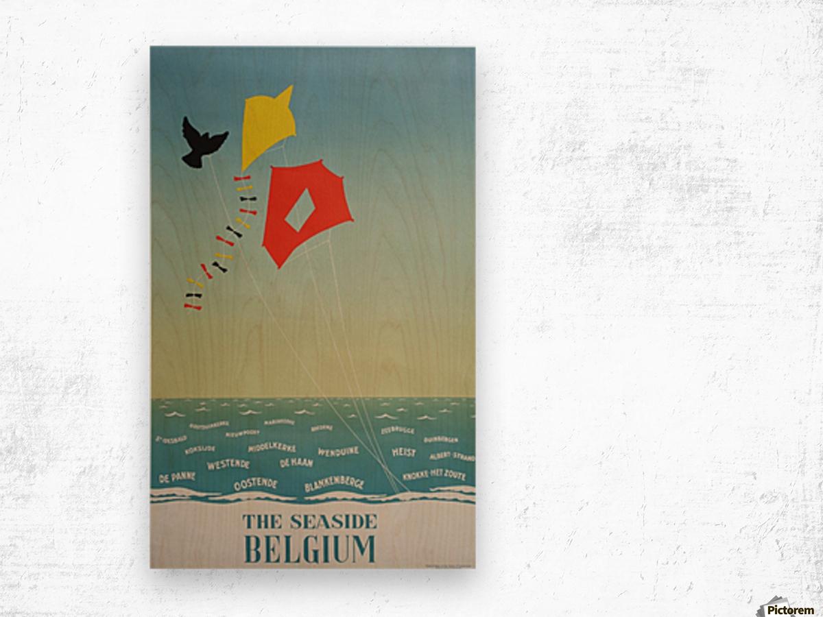 1950 Belgium seaside original travel vintage poster Wood print