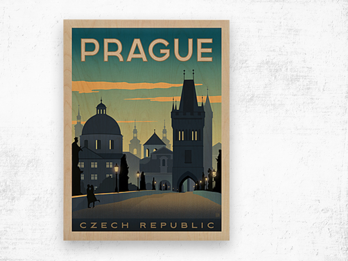 Prague vintage travel poster Impression sur bois