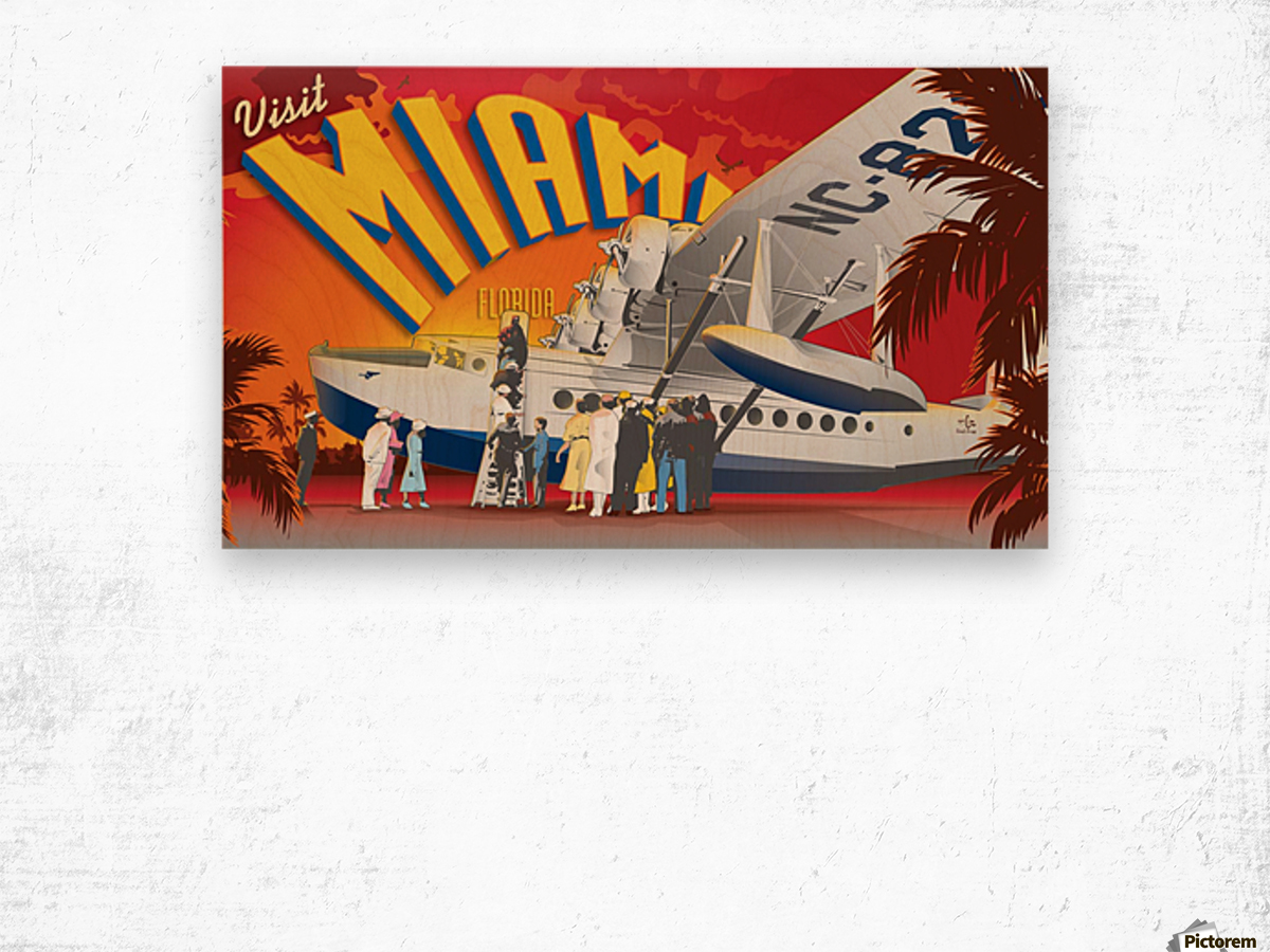 Vectree Vintage Miami Florida travel poster Wood print