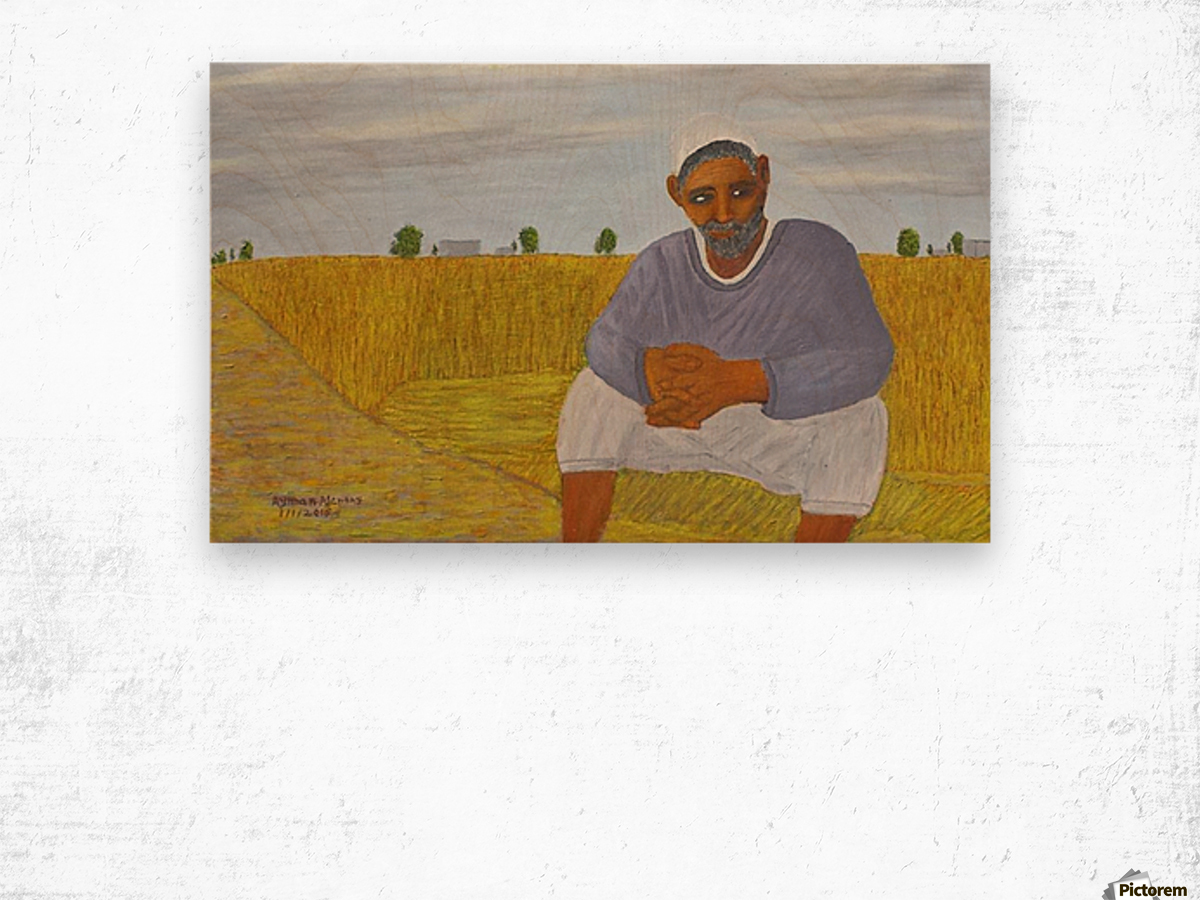 The wheat farmer Wood print