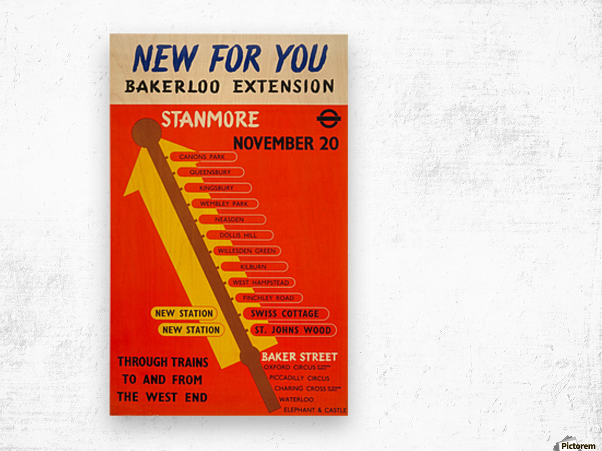 Poster Promoting the Bakerloo Line Extension to Stanmore, 1939 Wood print