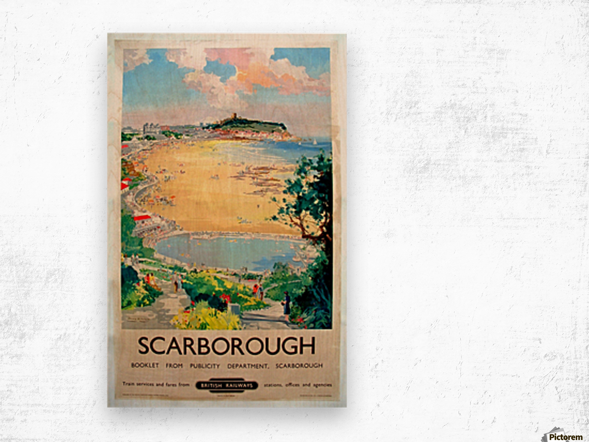 Original Railway Poster Scarborough Wood print