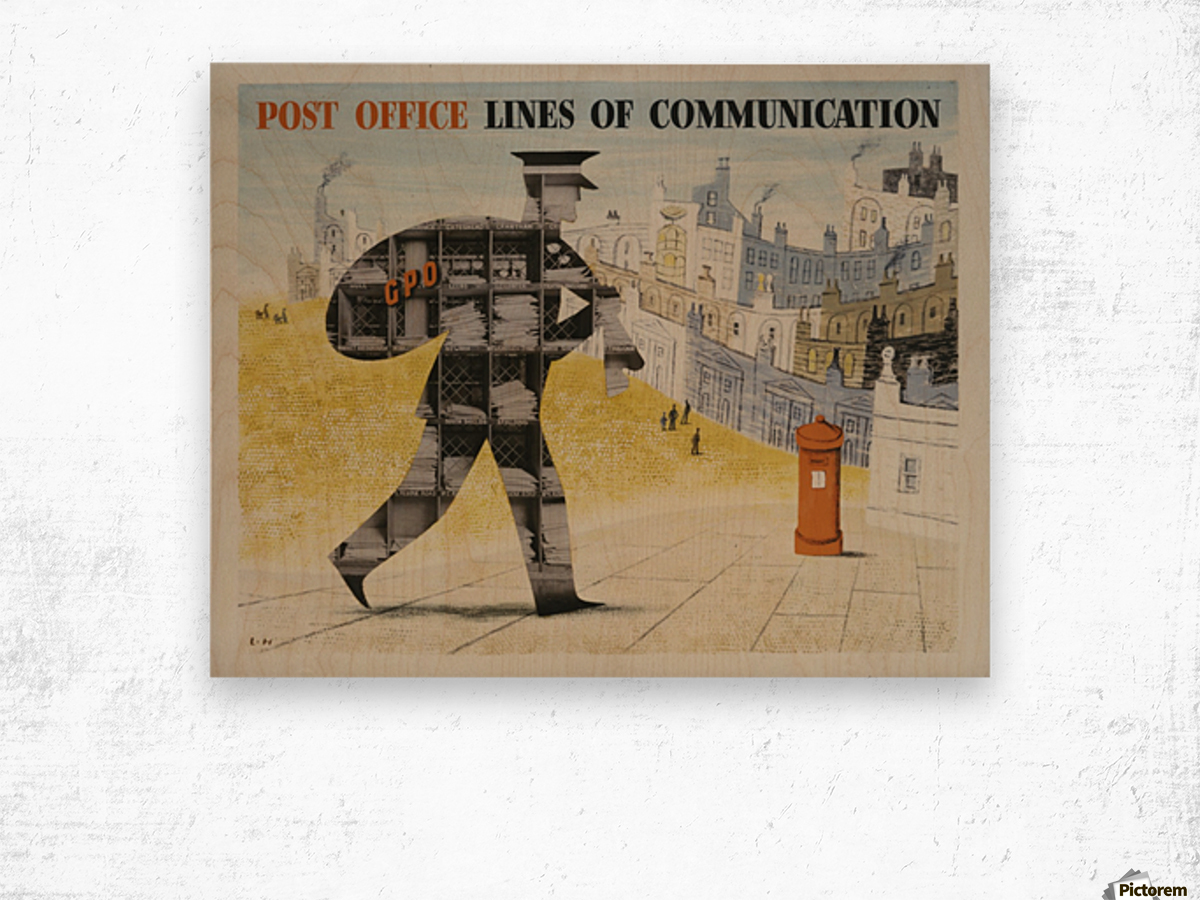Post Office Lines of Communication Wood print