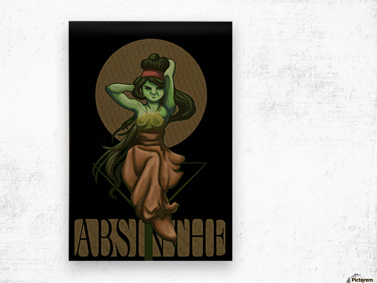 Green Fairy Absinthe Poster Wood print