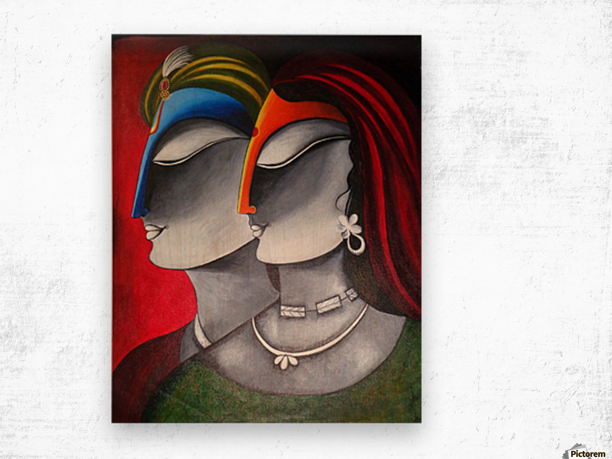 Divine Love Krishna and Radha Wood print