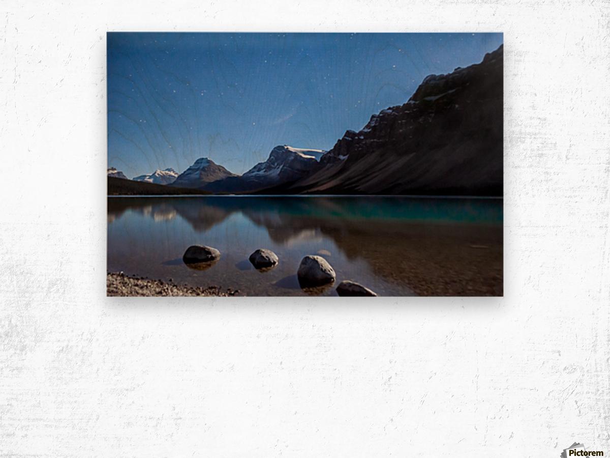 Bow lake under moonlight  Wood print