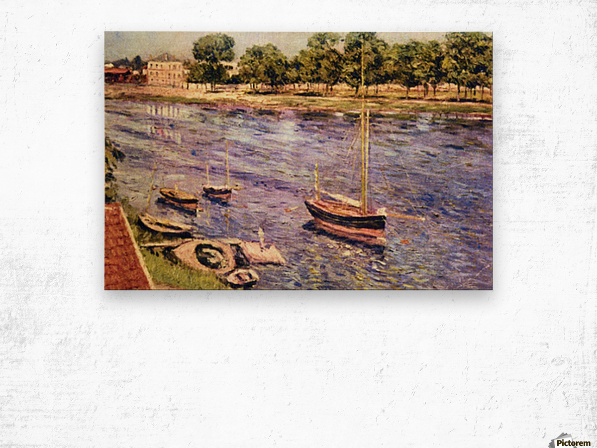 The Marne by Caillebotte Wood print