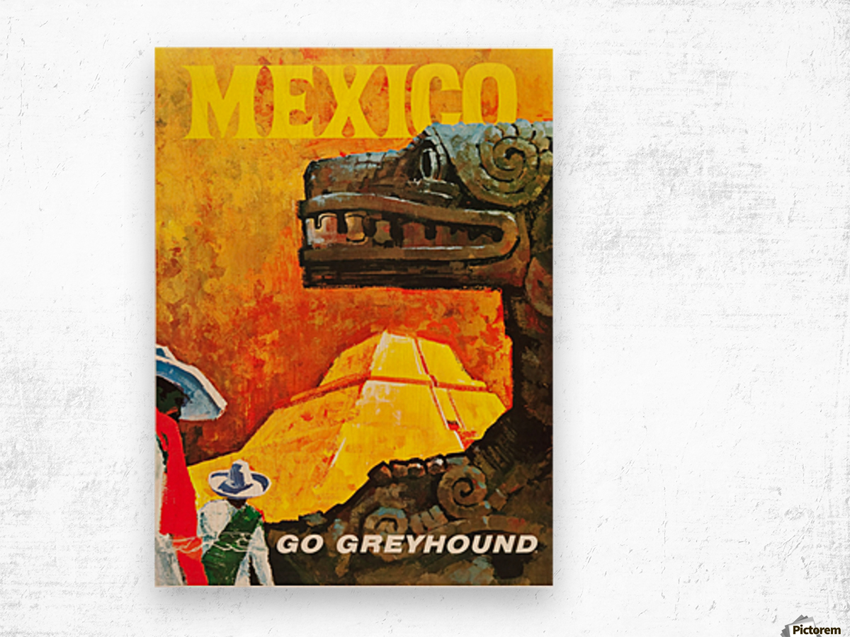 Mexico Go Greyhound Travel Poster Wood print