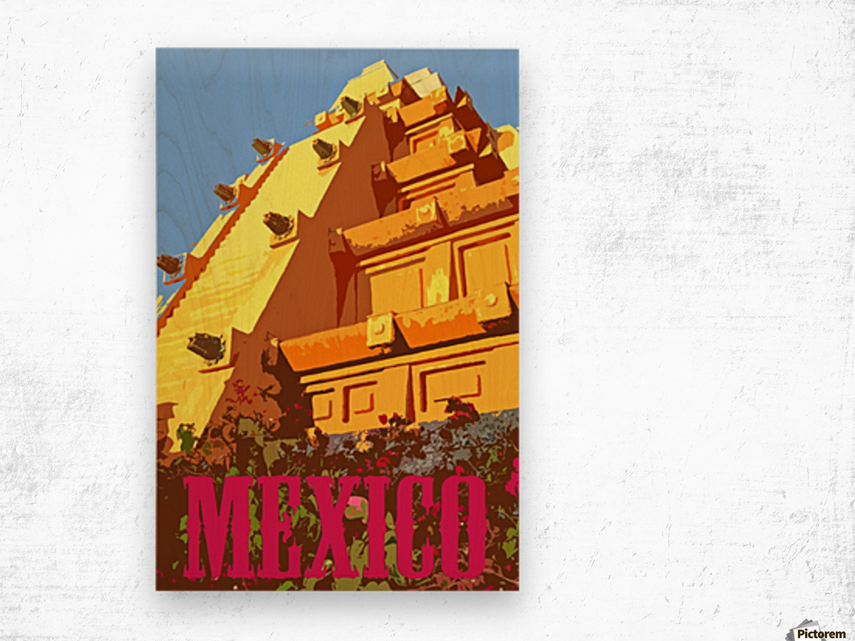 Mexico City vintage travel poster Wood print