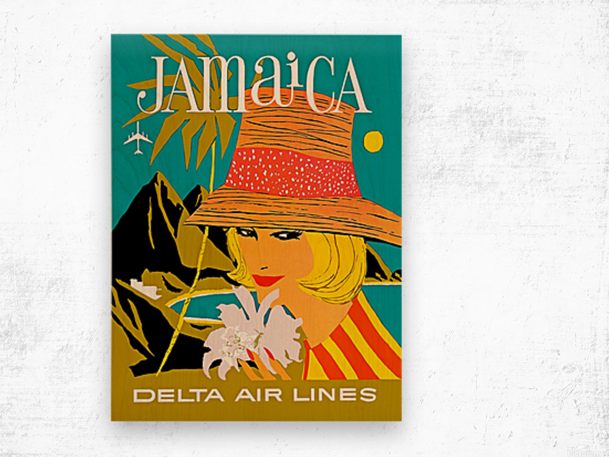Vintage Jamaica Delta Airlines Poster Wood print