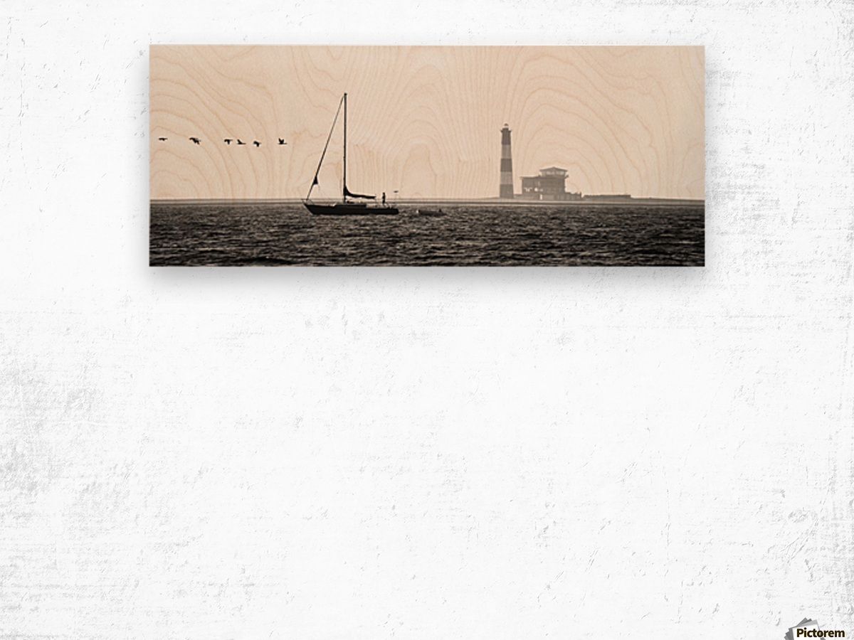 Passing by the Lighthouse Wood print