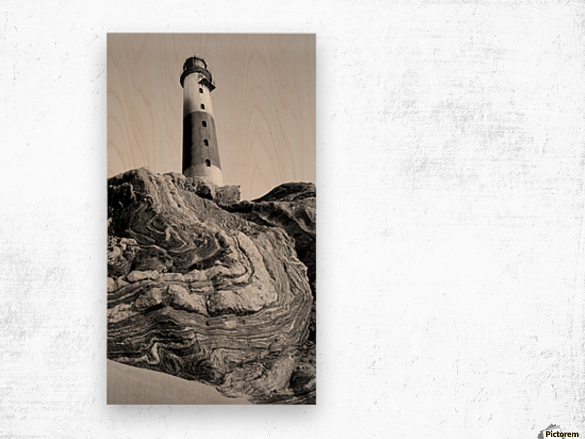 Lighthouse on Twisted Rock Wood print