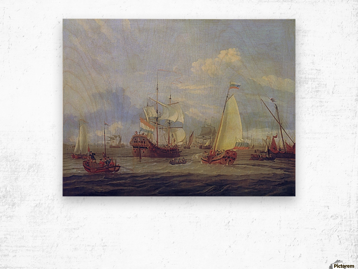 Peter the Great inspecting ship at Amsterdam Wood print