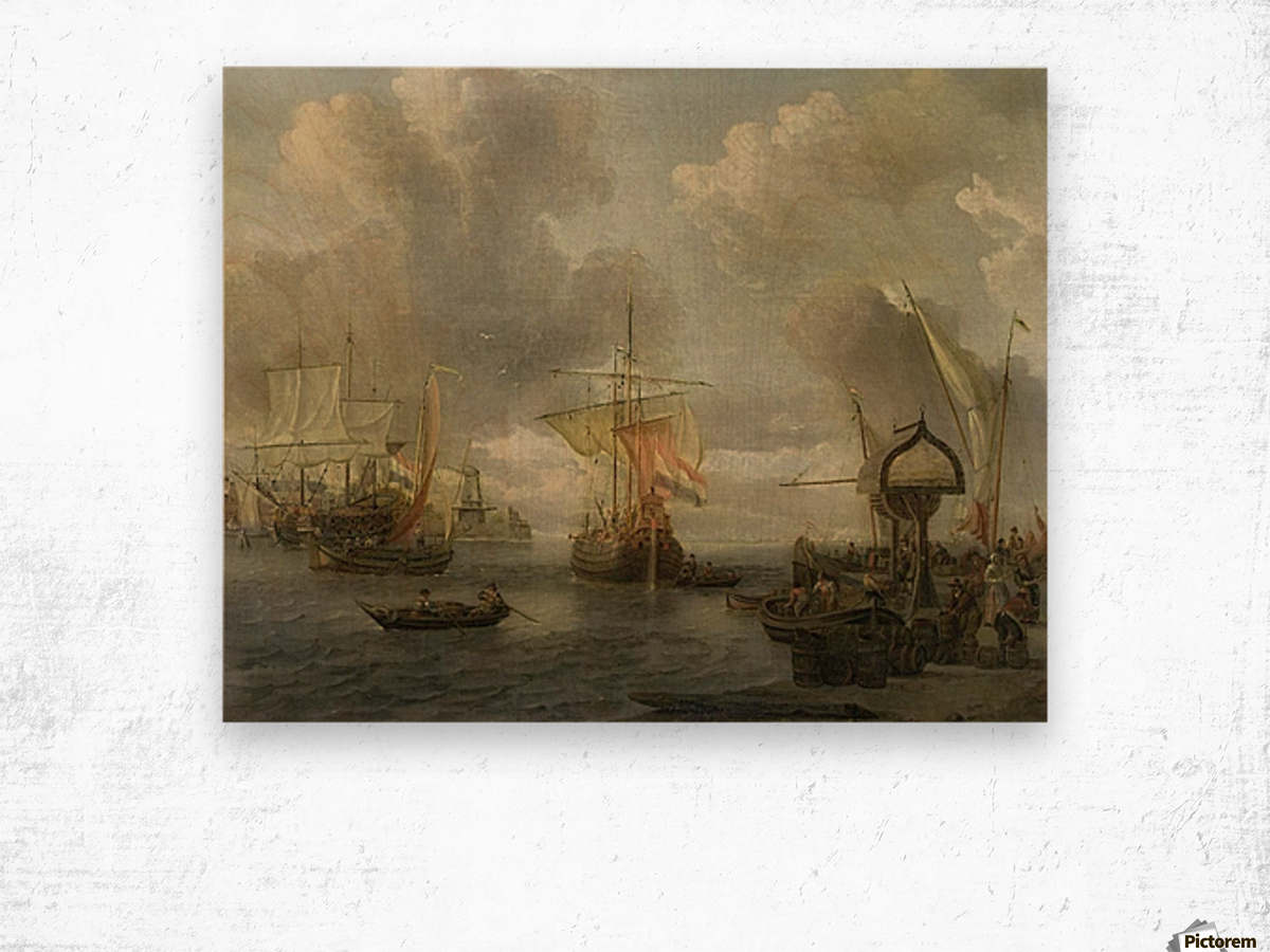 View of a Harbour on the Zuiderzee Wood print
