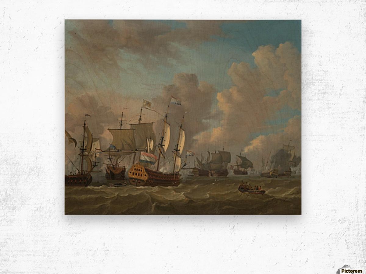 Dutch ships in a naval skirmish Wood print