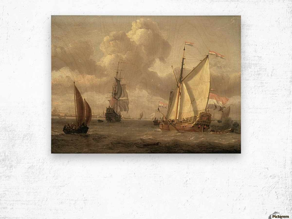 Ship on the River IJ in Amsterdam, around 1661 Wood print