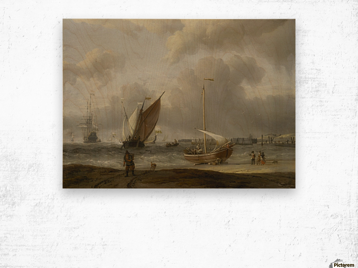 Fishing boats in storm off the Dutch Coast at Den Helder Wood print