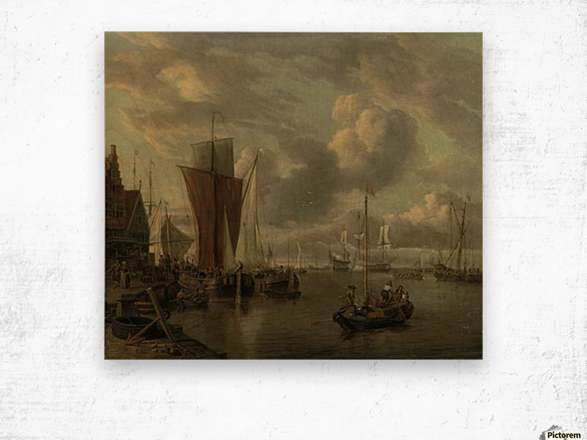 Quayside with extensive shipping Wood print