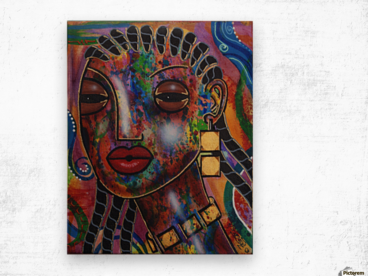 Girl with Braids Wood print