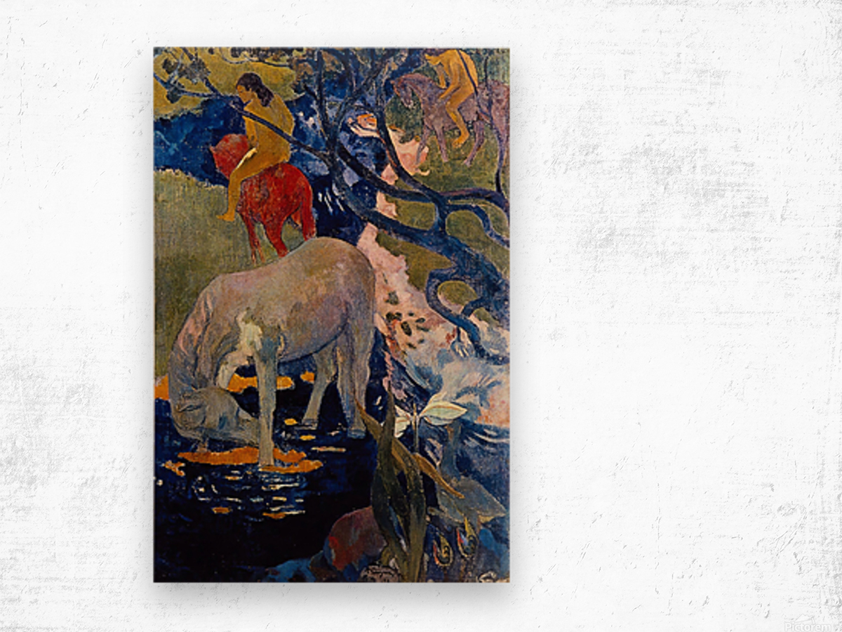 The White Horse by Gauguin Wood print