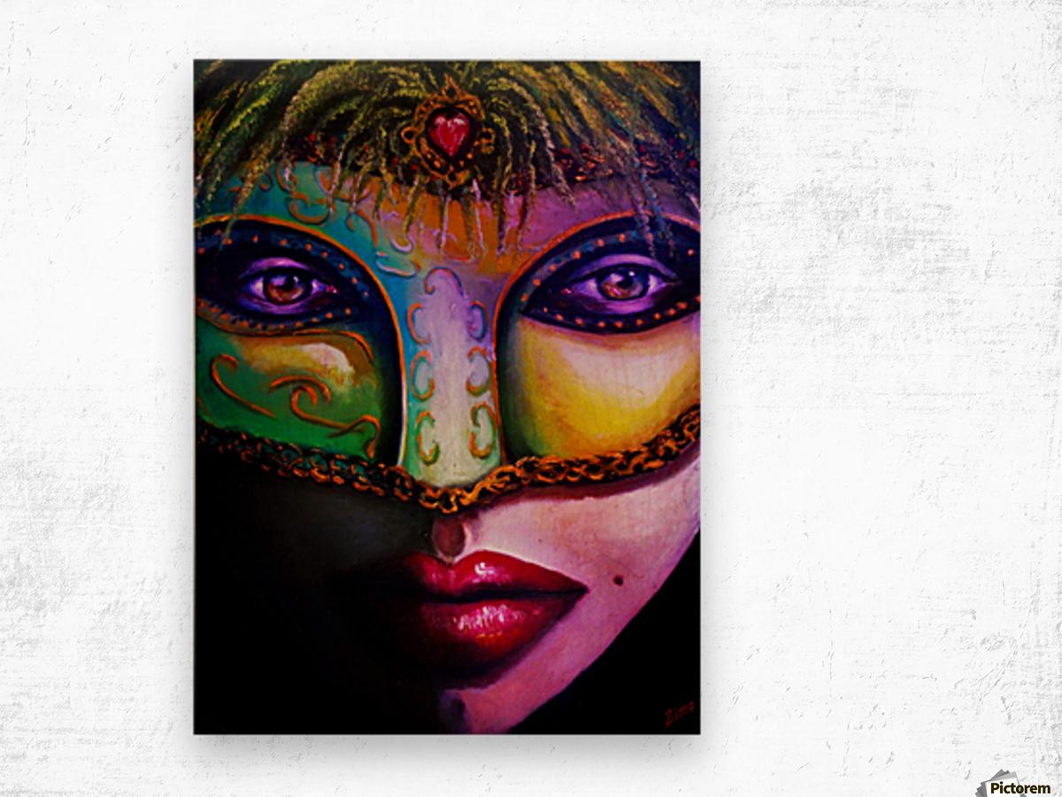 beneath the mask Wood print