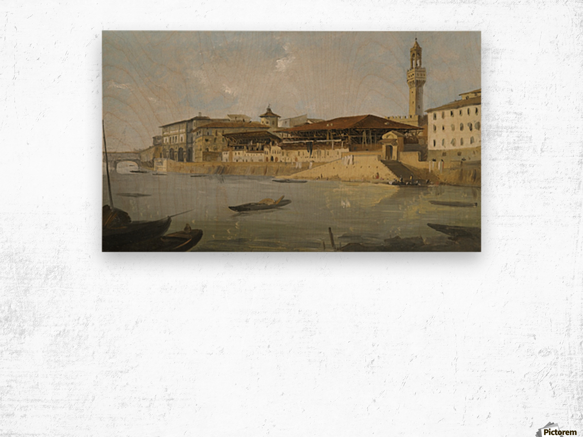 Florence, a view of the Arno with the Tiratoio delle Grazie Wood print