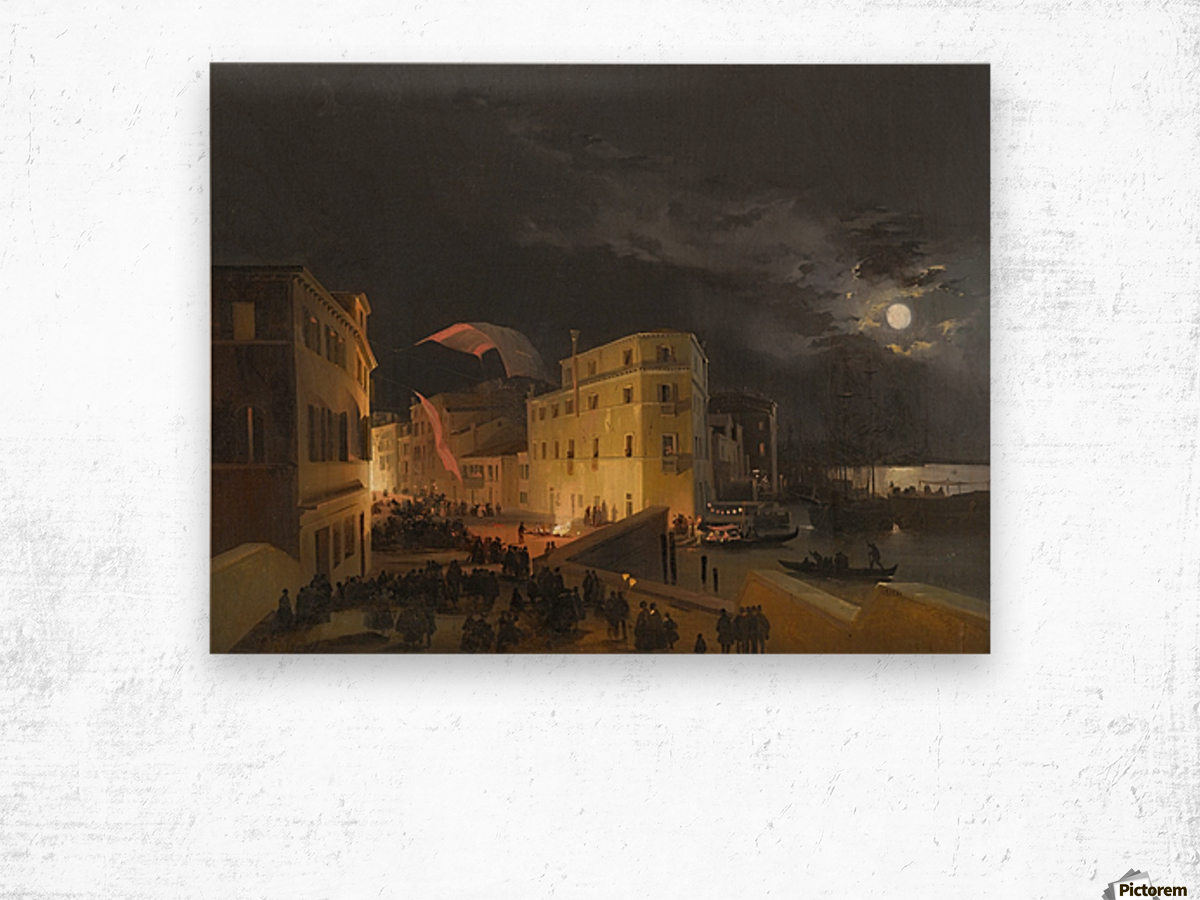 Venice, Nocturnal Festivities on the Via Eugenia Wood print