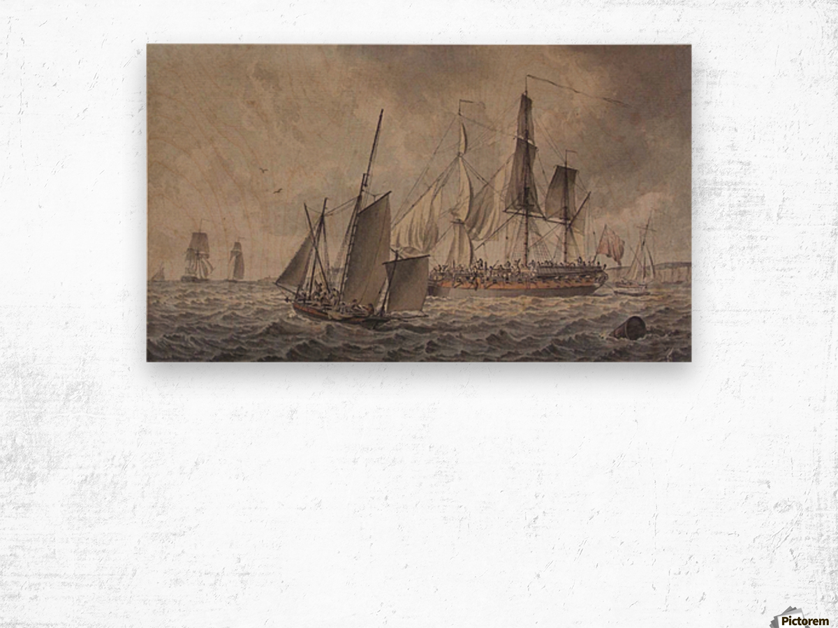 Frigate and fishing boats in harbor in the collection at The Mariners Wood print