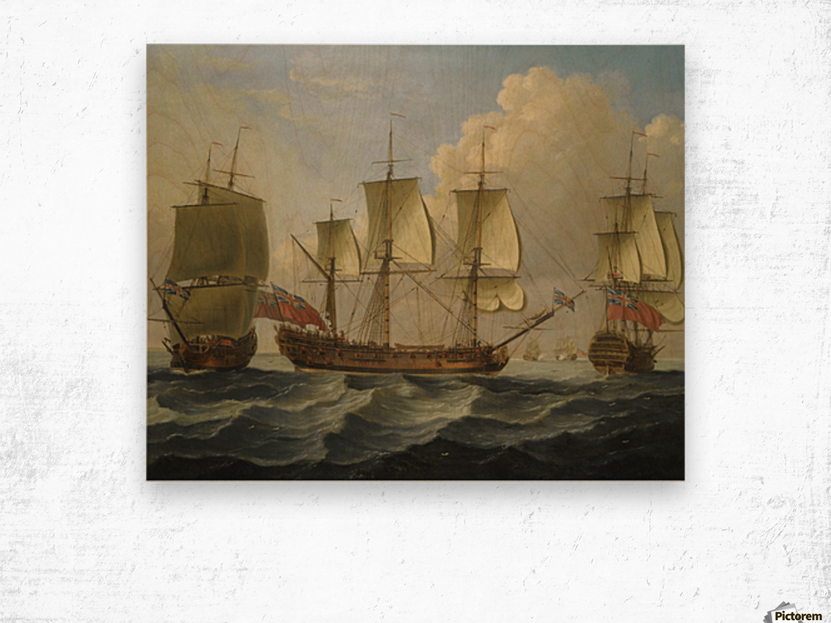 An East Indiamam in three pasitions Wood print