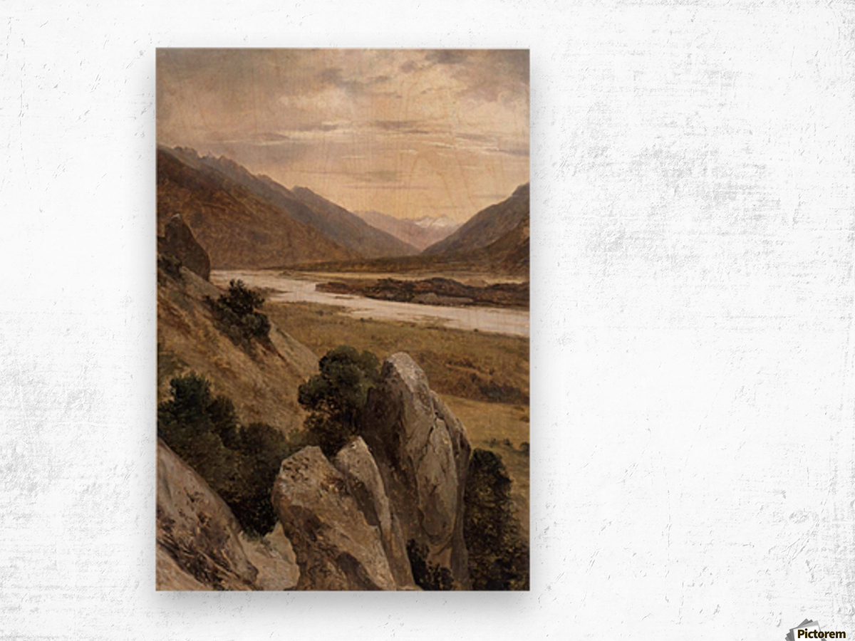 Mountainous Riverscape Wood print