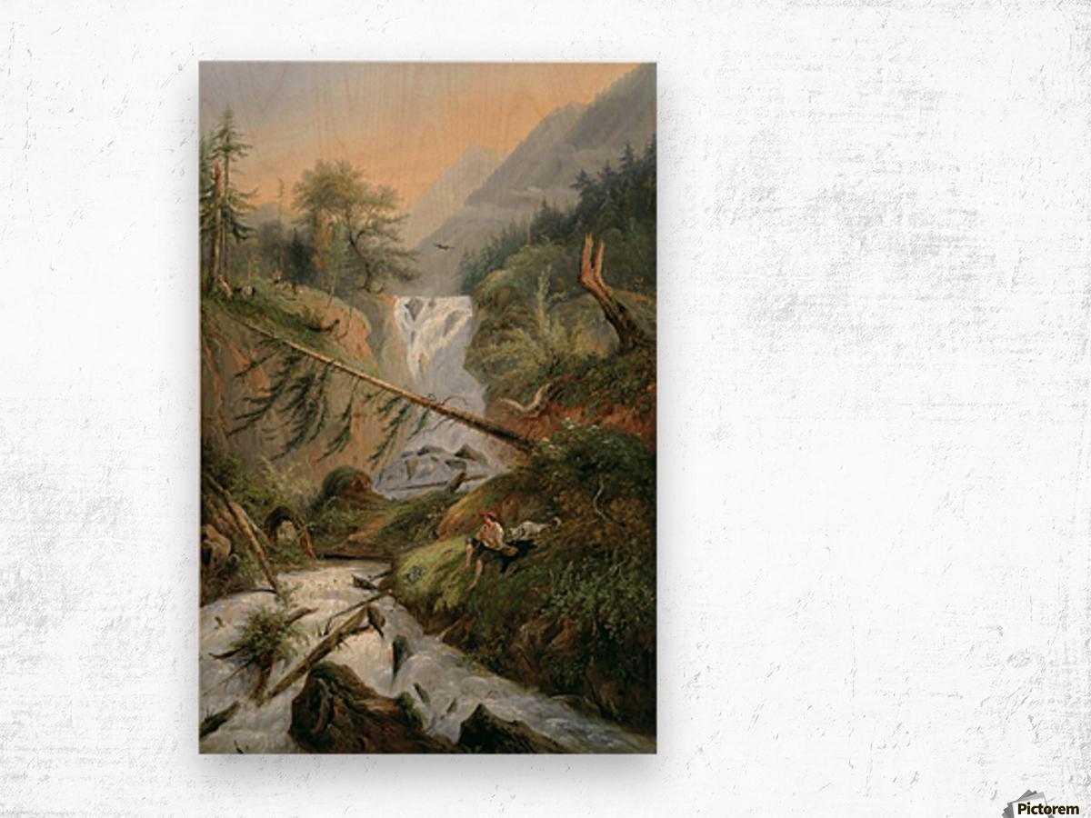 Berger se reposant pres d'une Cascade Wood print