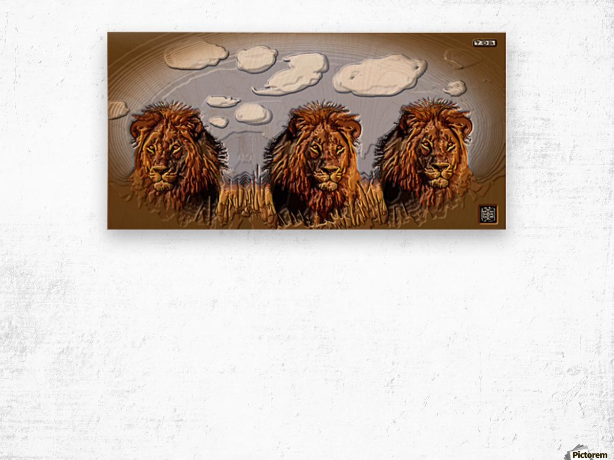 art   lion 3D  A Wood print