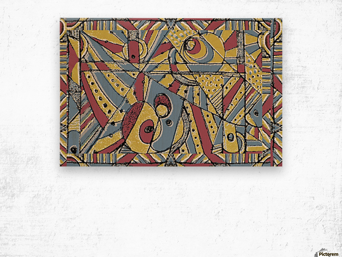 Multicolor Abstract Wood print