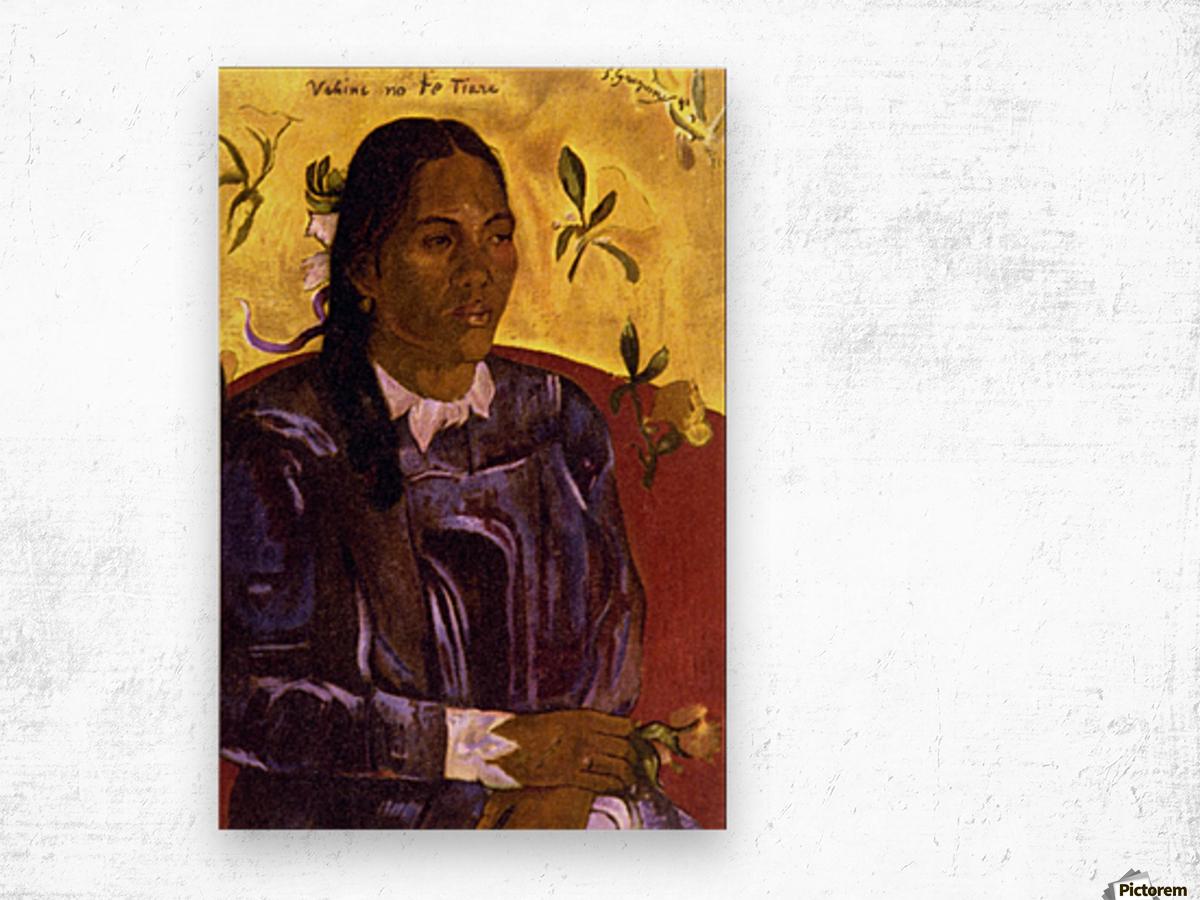 Woman with Gardenia by Gauguin Wood print