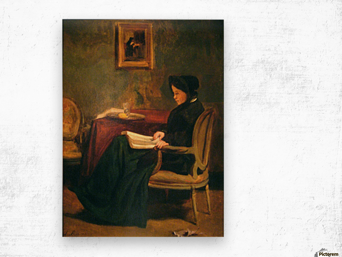 Seated woman reading, 1862 Wood print
