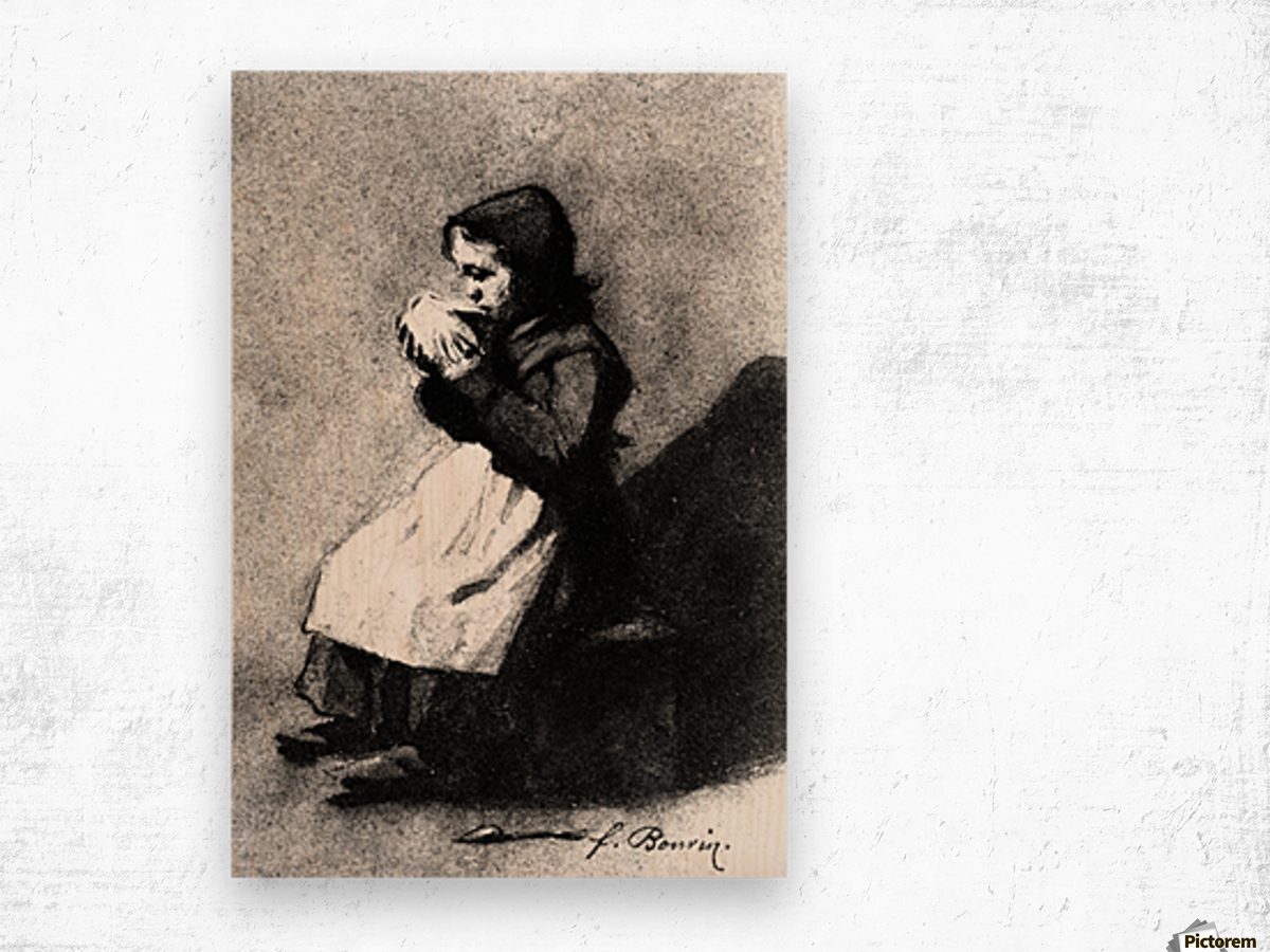 Girl Drinking from a Bowl Wood print