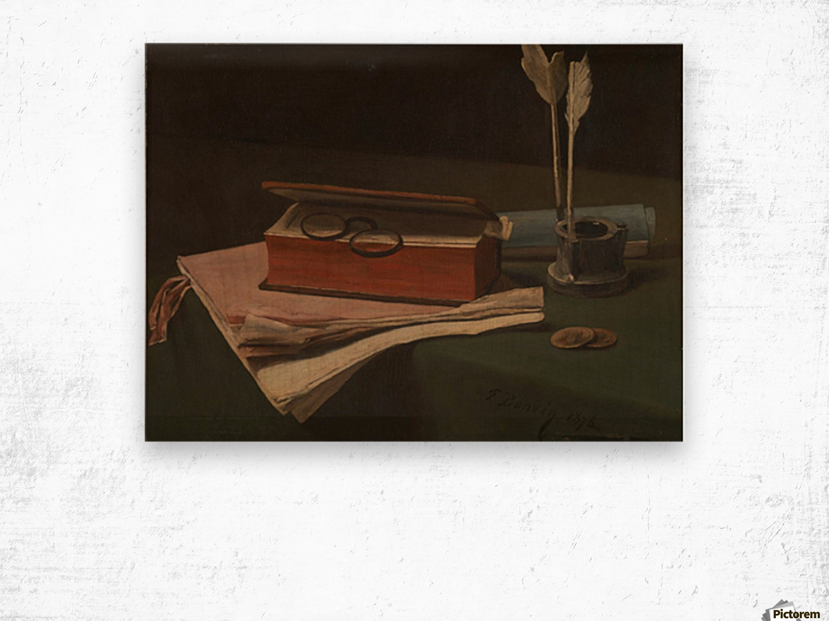 Still Life with Book, Papers and Inkwell Wood print