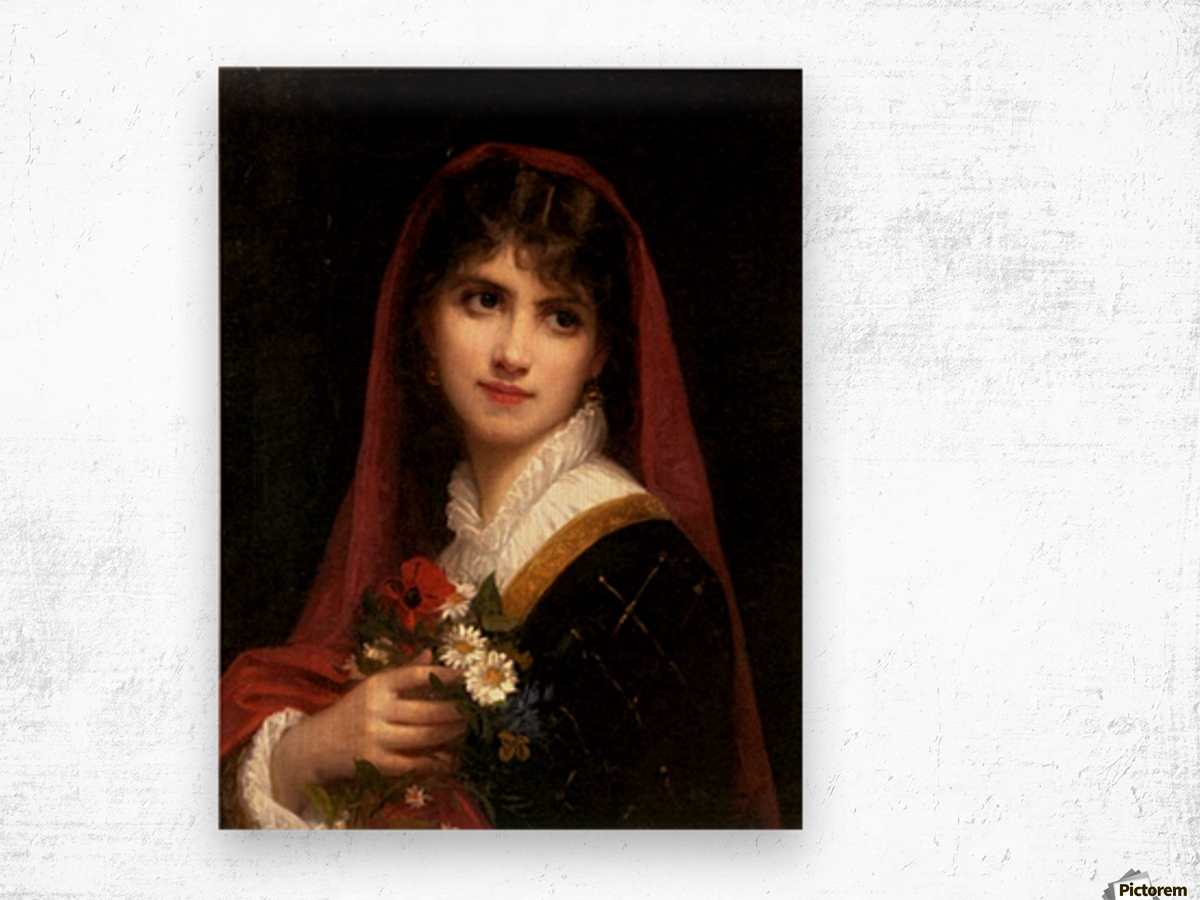 A young beauty wearing a red veil Wood print