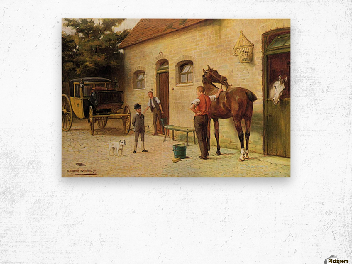 A family in front of their house Wood print