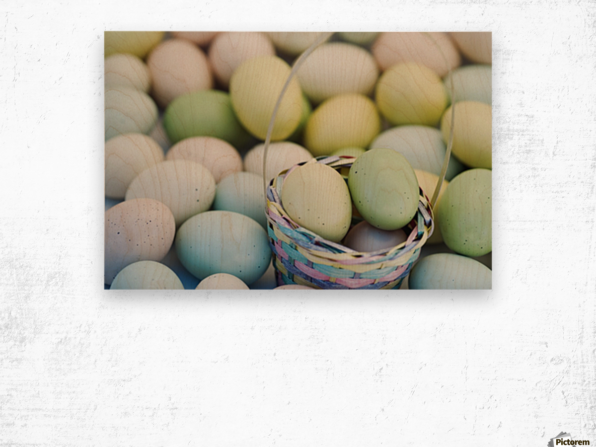 Easter Eggs And Basket Wood print