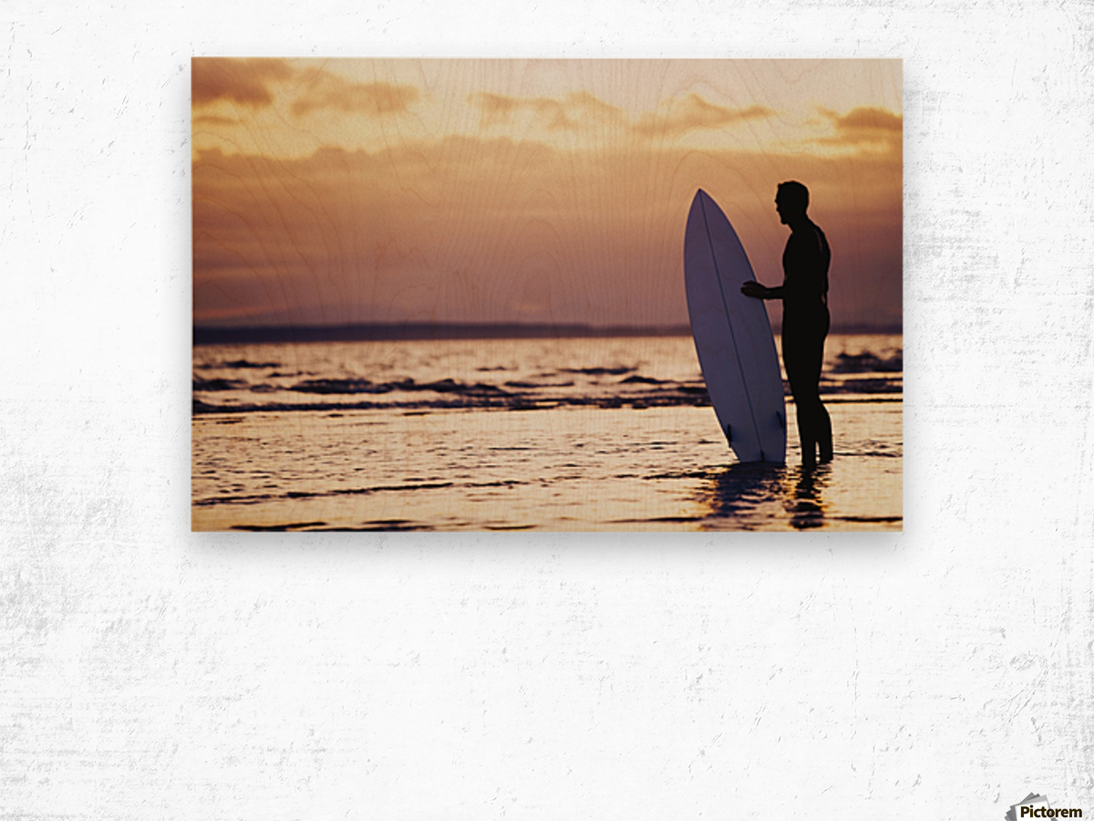 Surfer Silhouette Wood print