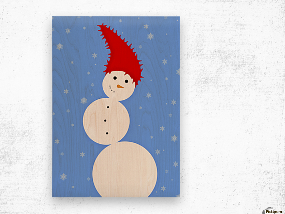 Illustration Of A Snowman Wood print