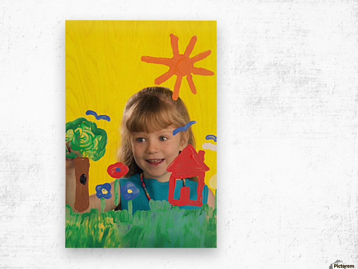 Girl Painting On Glass Wood print