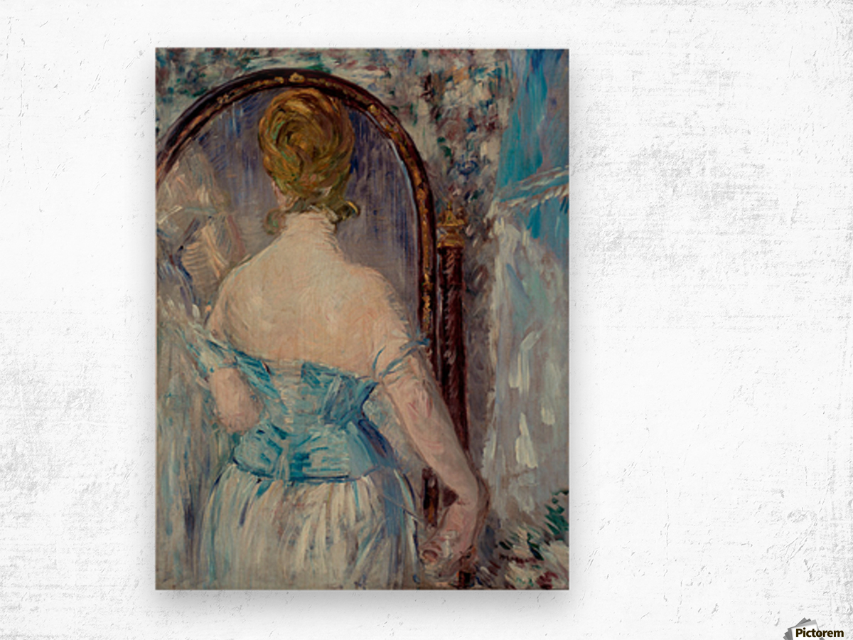 Before the Mirror by Manet Wood print